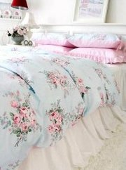 Shabby and Elegant Blue Rose/pink Gingham 4pc Bedding Set,  Queen