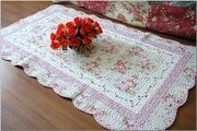 Shabby and Vintage Style Pinkrose Emborided/quilted Floor Runner/rug