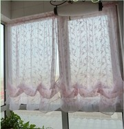 Embroidery Vine Pink Sheer Voile Pull-up Cafe Curtain