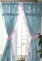 Shabby and Elegant Blue Rose W/ruffle Curtain Drape 2pc Set